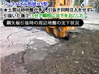 シートパイル形状=5型、★土質は砂地盤が多く、引抜き同時注入をせずに引抜いた施工(5分で瞬時に沈下をおこした)〔鋼矢板引抜時の周辺地盤の沈下状況〕